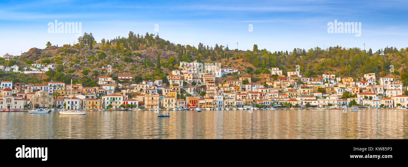 Panoramic view of Poros Island, Argolida, Peloponnese, Greece - Stock Image
