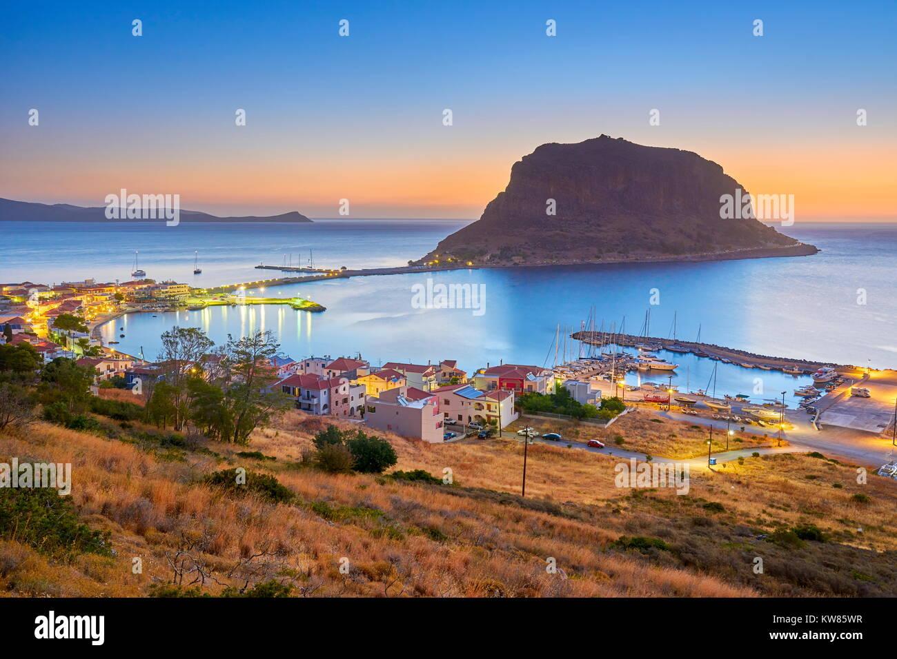 View on Monemvasia before sunrise, Peloponnese, Greece - Stock Image