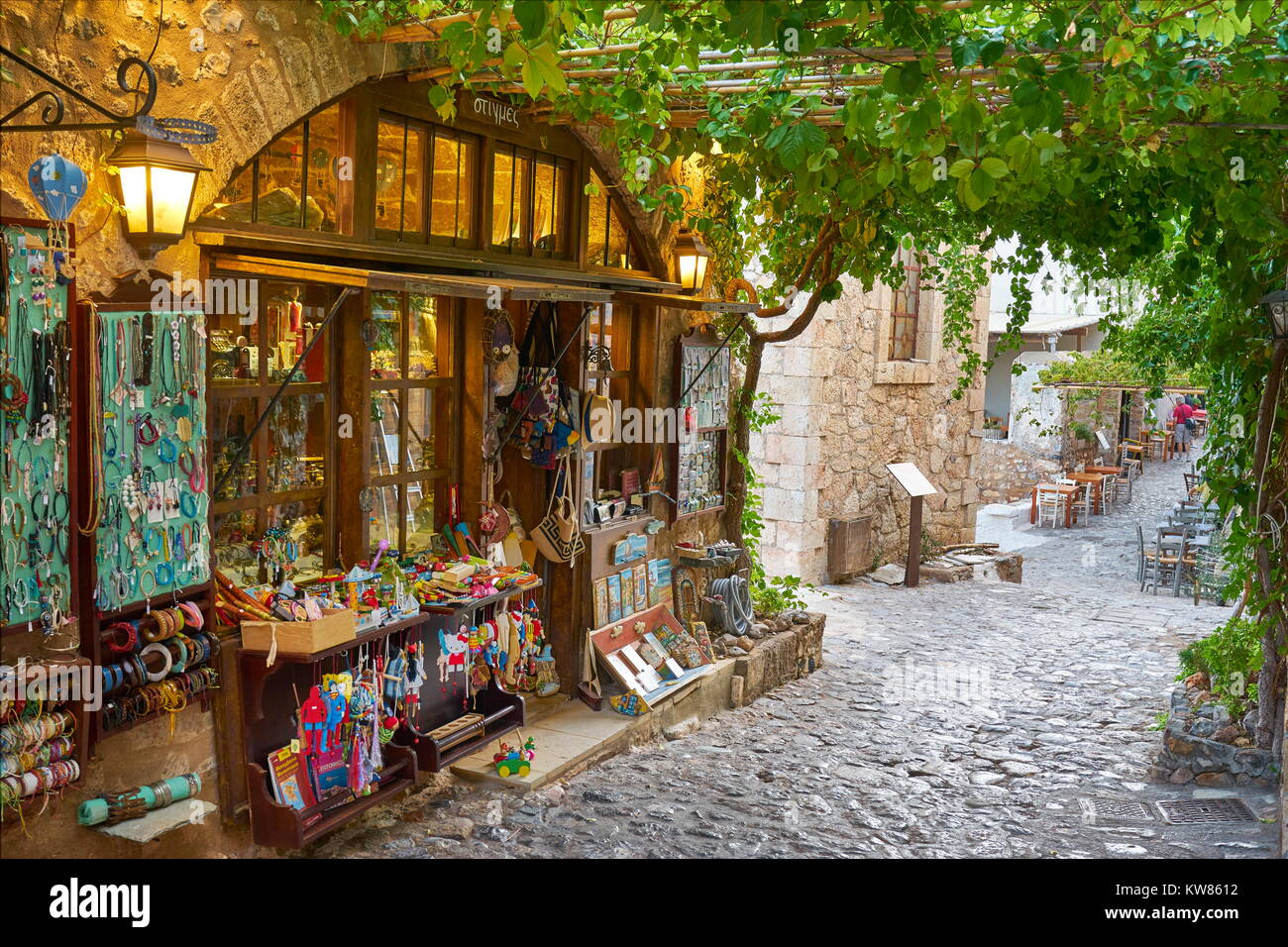 Main street in Monemvasia village, Peloponnese, Greece - Stock Image