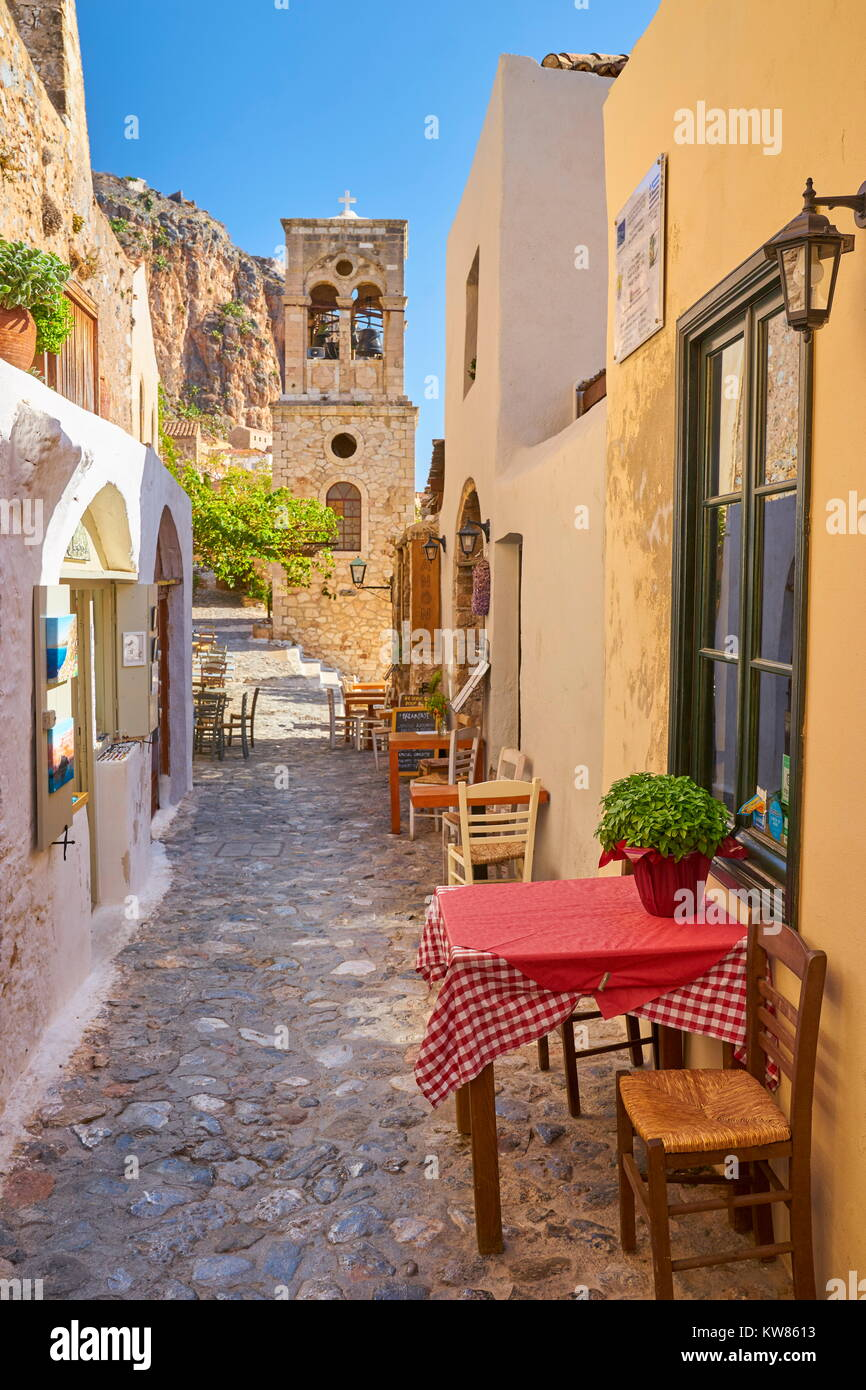 Main street in Monemvasia medieval village, Peloponnese, Greece - Stock Image