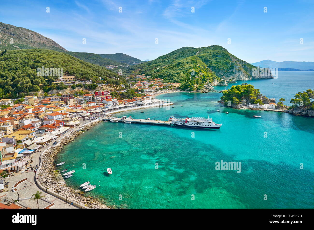 Aerial view of Parga, Greece - Stock Image