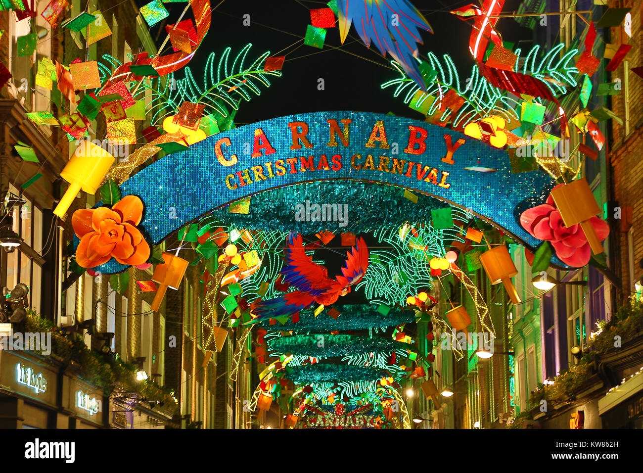 Christmas Lights In Carnaby Street London With A Tropical