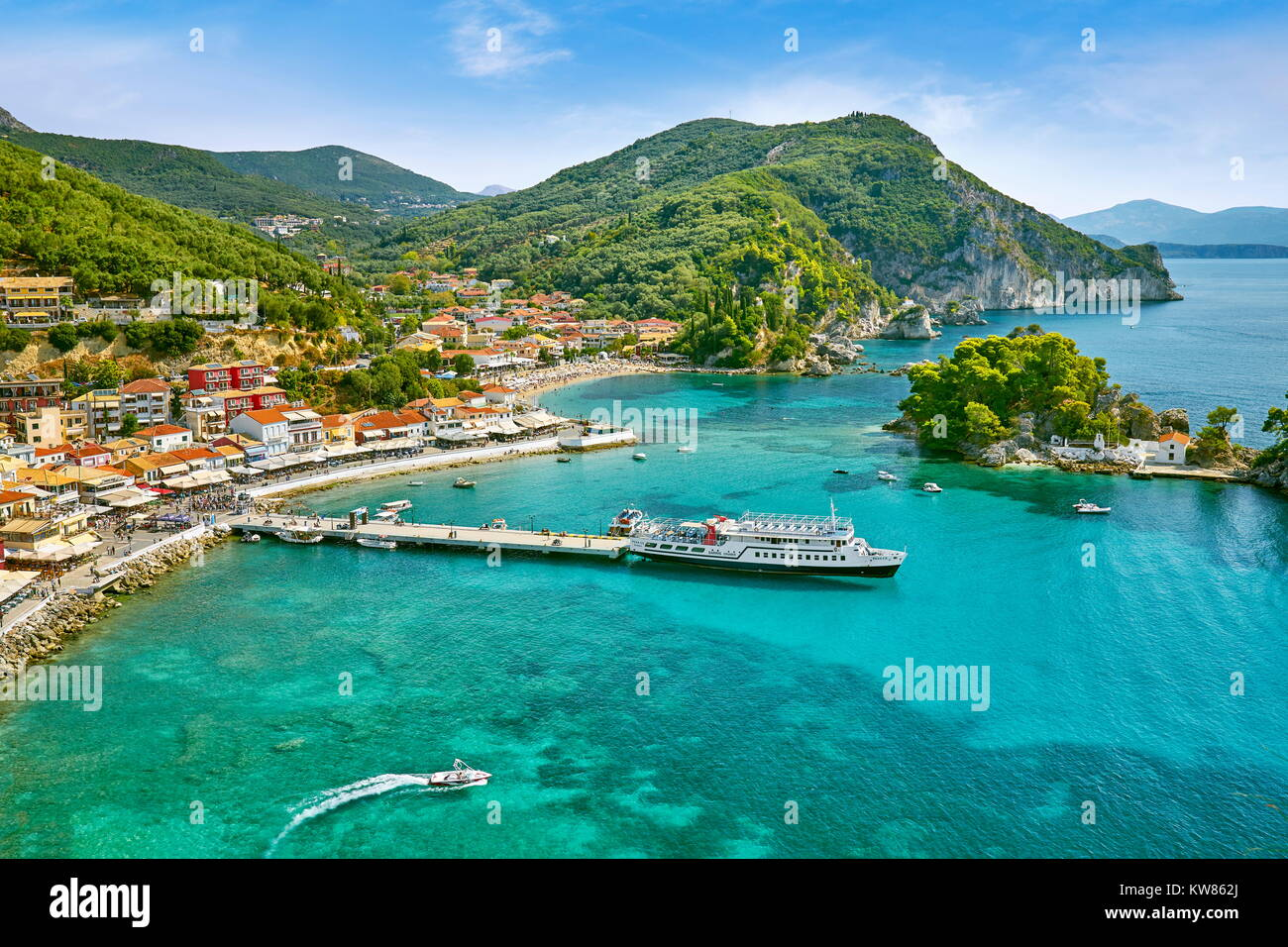 Townscape of Parga, Greece - Stock Image