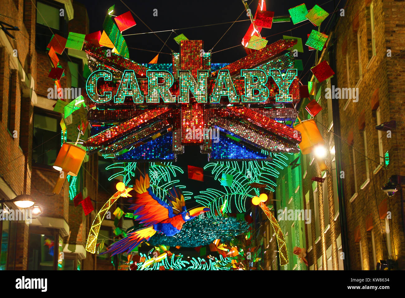 christmas lights in carnaby street london with a tropical xmas