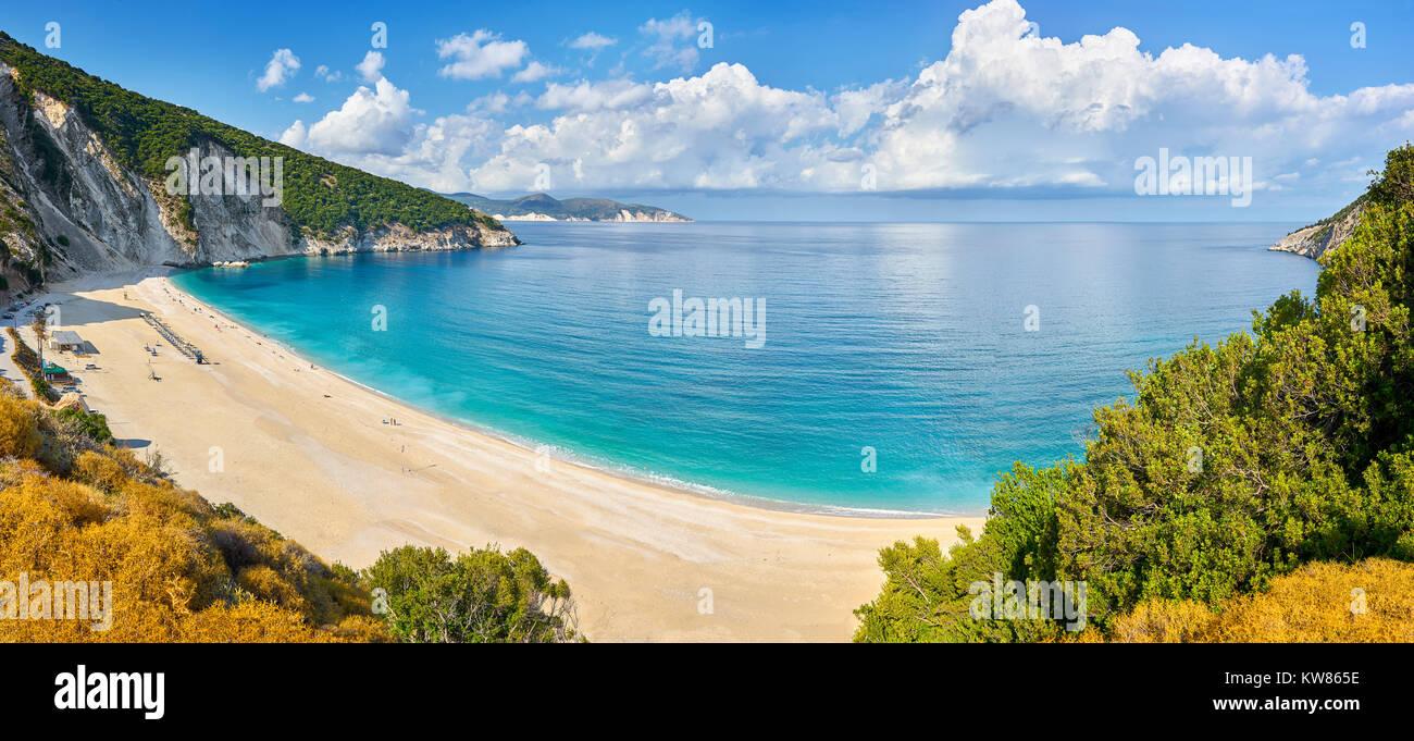 Panorama view of Myrtos Beach, Kefalonia (Cephalonia), Greek Ionian Islands, Greece - Stock Image