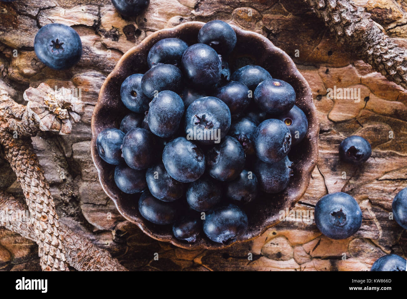 Blueberries on Natural Wood Surface - Stock Image