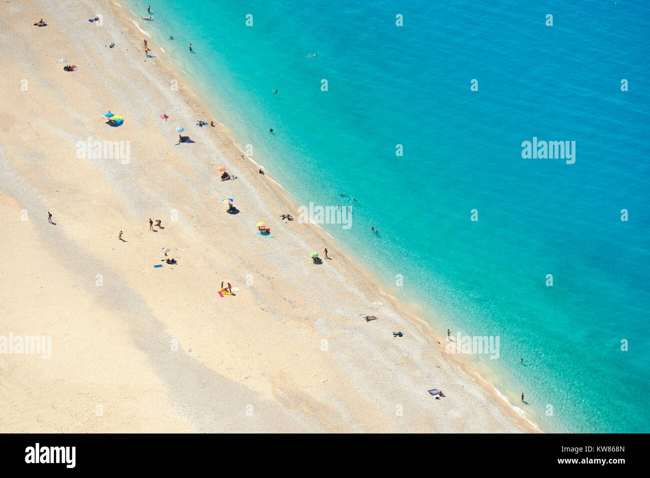 Turquoise water at Myrtos Beach, Kefalonia (Cephalonia), Greek Ionian Islands, Greece - Stock Image