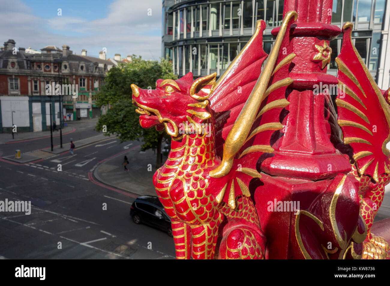 Guilded City Dragon decorations on the  lamp posts on Holborn Viaduct, City of London, UK - Stock Image