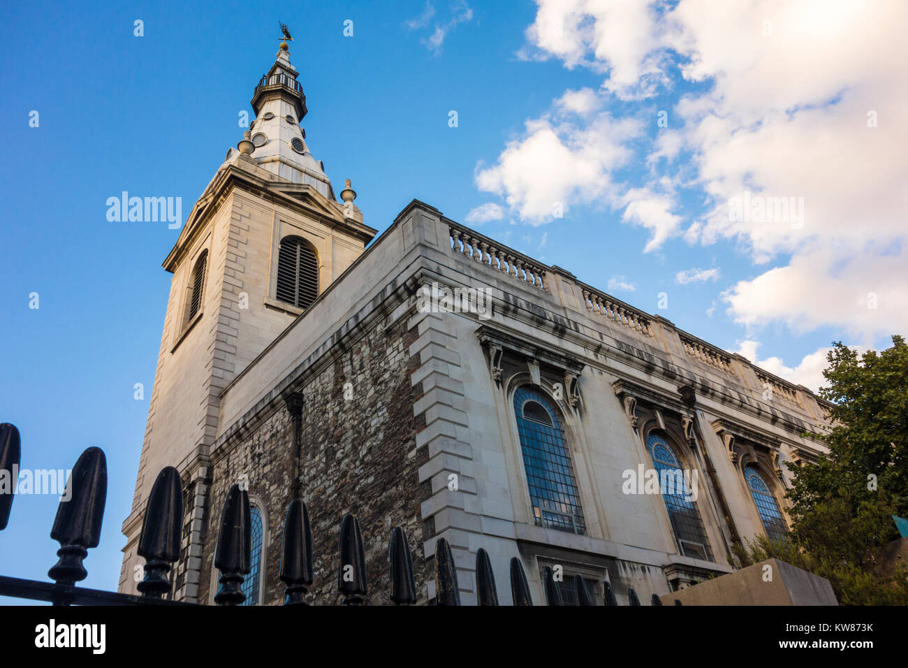St Nicholas Cole Abbey, Queen Victoria Street, City of London, UK. Baroque church by Sir Christopher Wren and reconstructed - Stock Image