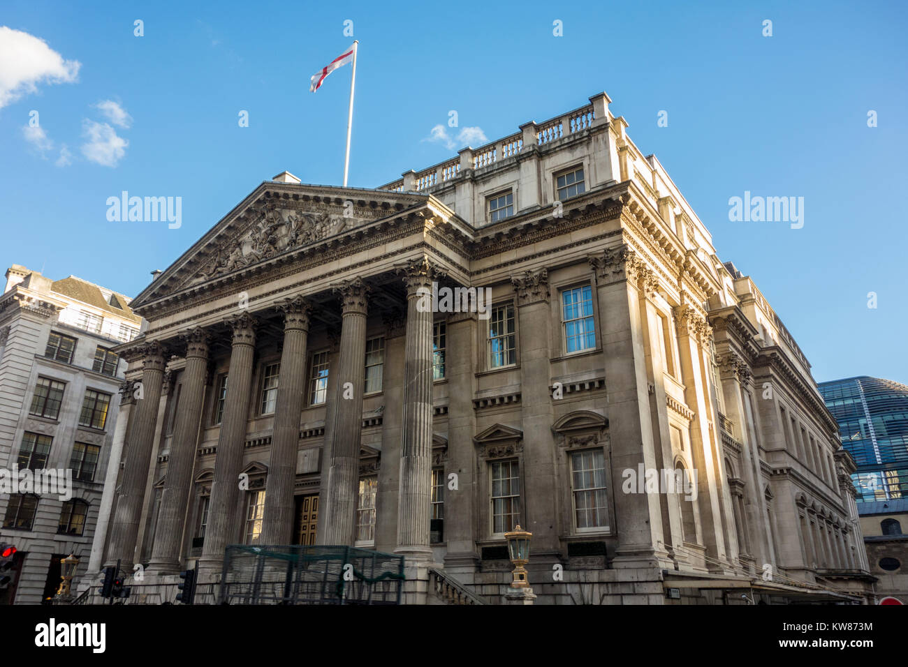 Mansion House, City of London, by George Dance the Elder, official residence of the Lord Mayor of London. - Stock Image
