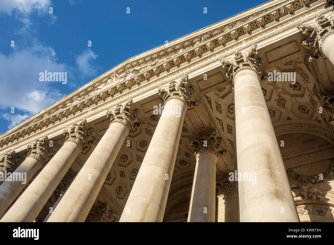 Neo-classical columns at Royal Exchange building, City of London, UK - Stock Image