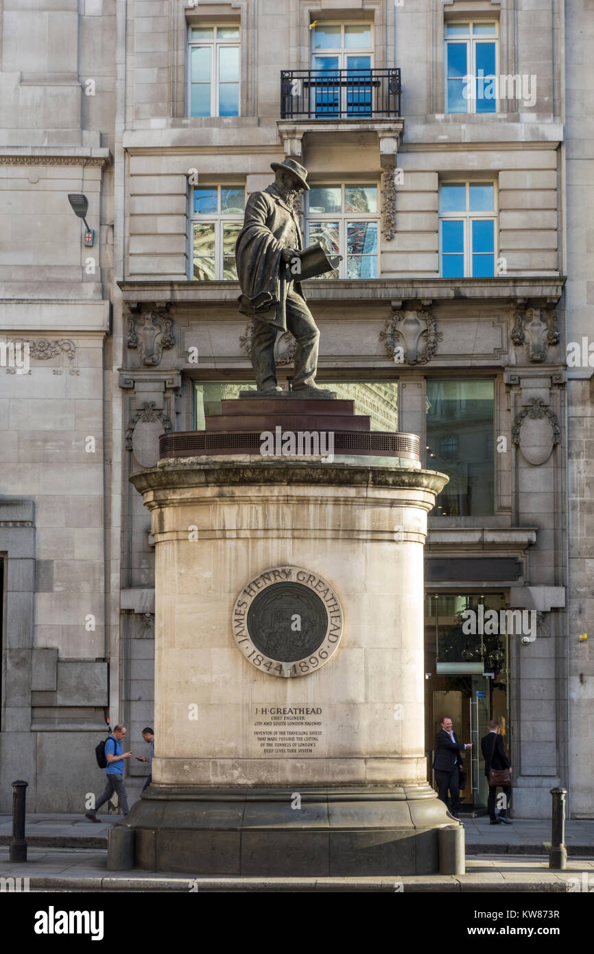 James Henry Greathead, Chief Engineer, City and South London Railway, Statue by James Butler, City of London, UK - Stock Image