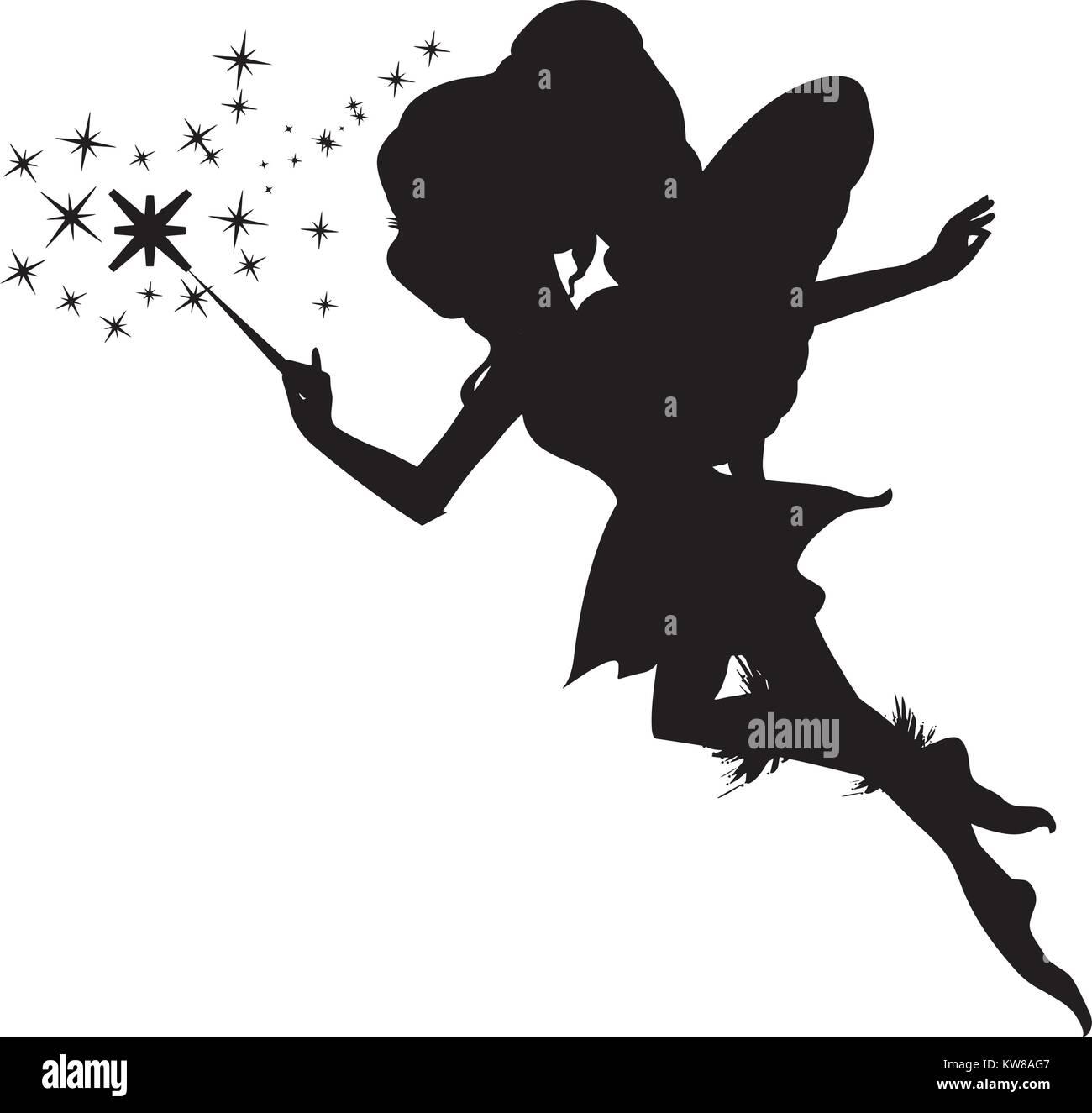 Fairy silhouette, Vector illustration - Stock Image