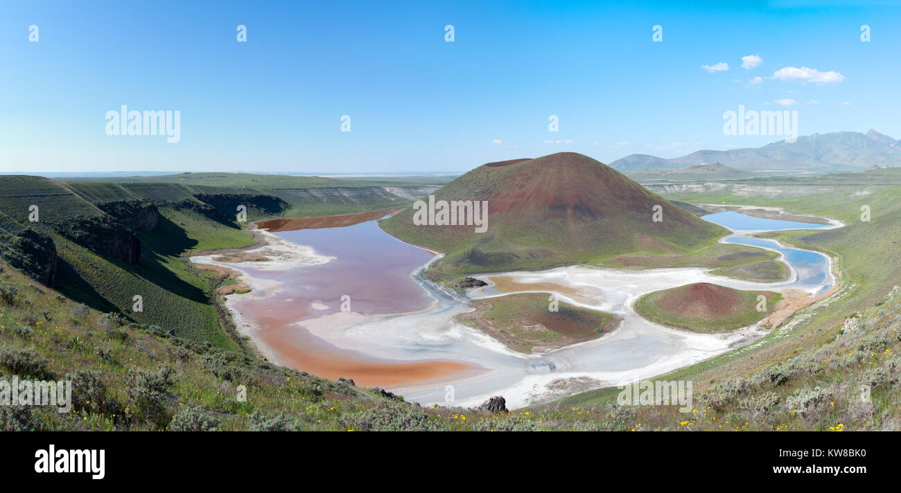 Lake Meke is a crater lake composed of two nested lakes located in Karapinar,Konya Province, central Turkey. - Stock Image
