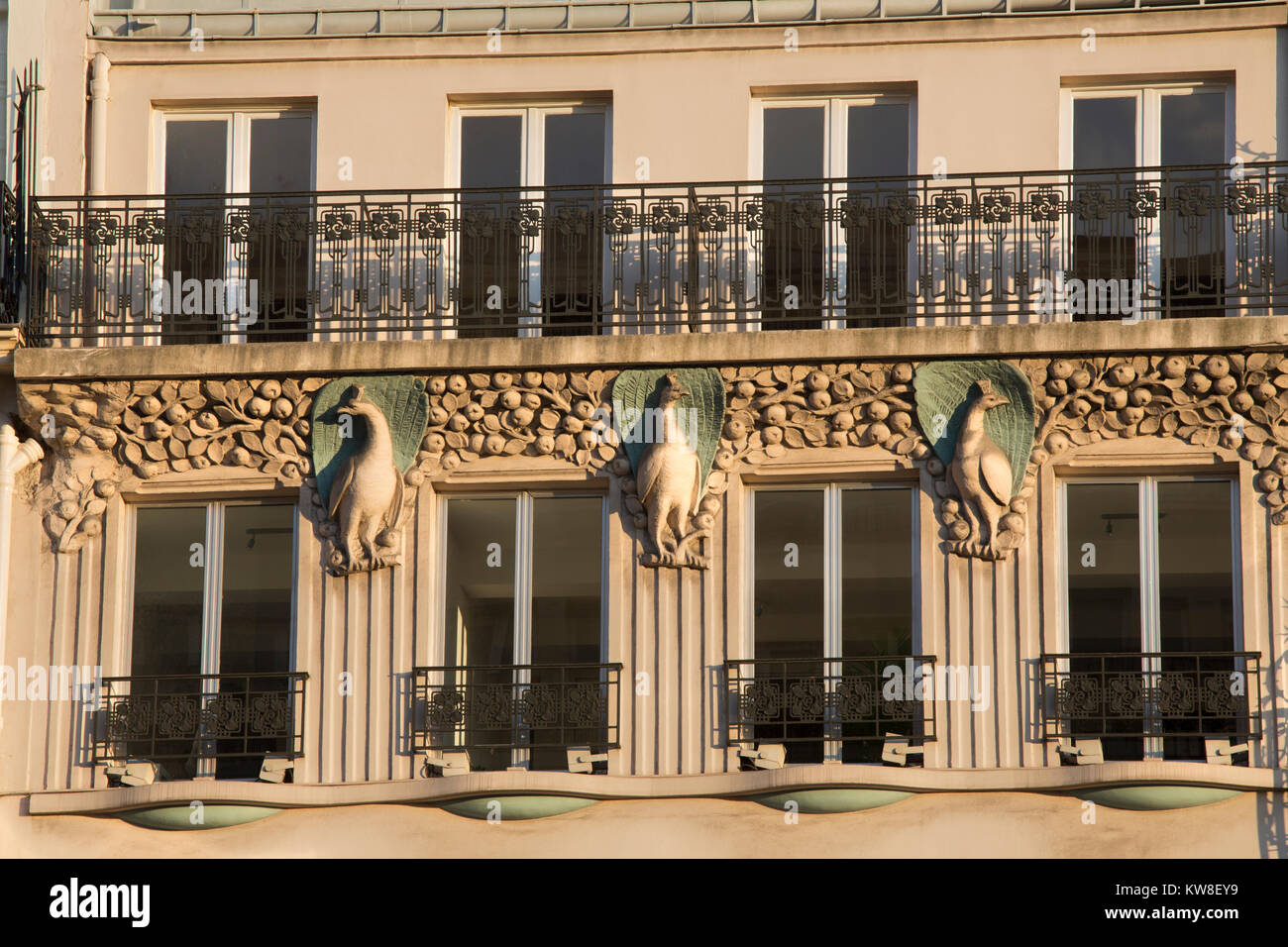 France, Paris (75), wrought iron, balconies of building in the 9th arrondissement. - Stock Image