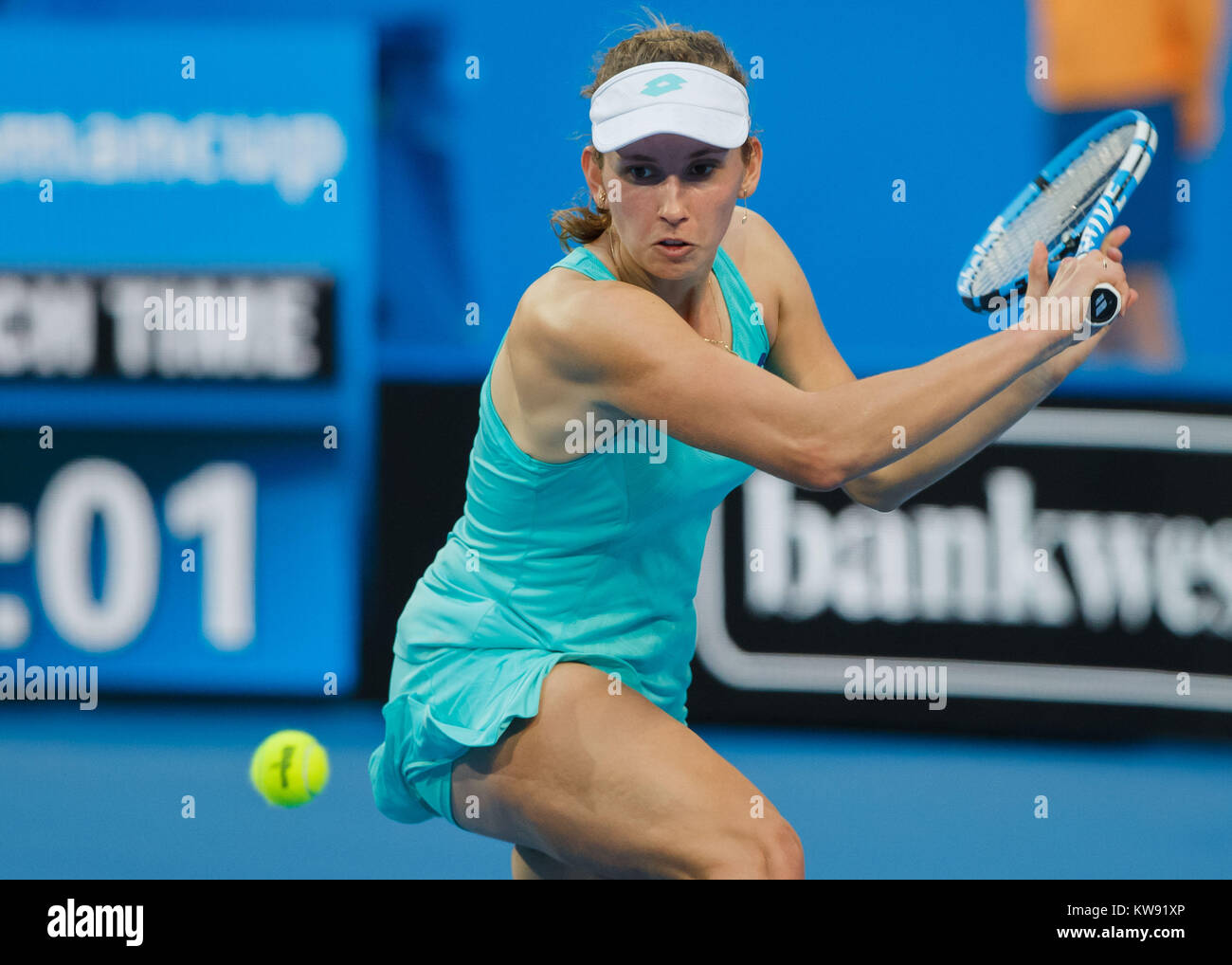 ELISE MERTENS (BEL) playing at the Hopman Cup 2018 in the Perth Arena - Perth, Australia. - Stock Image
