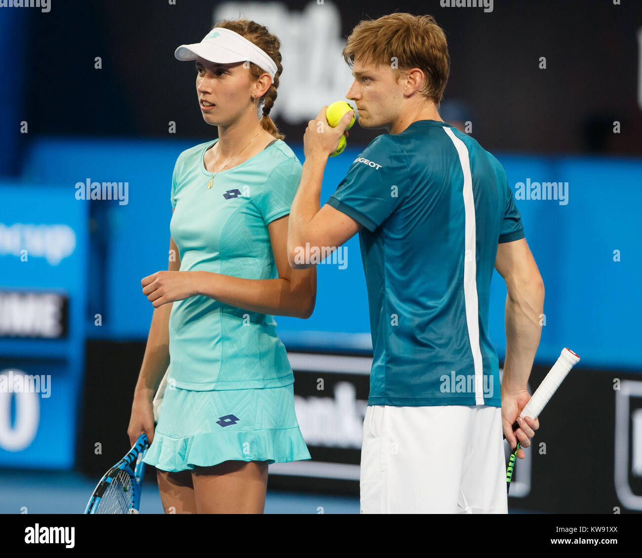 Mixed Doubles pair ELISE MERTENS and DAVID GOFFIN ( BEL) playing at the Hopman Cup 2018 in the Perth Arena - Perth, - Stock Image