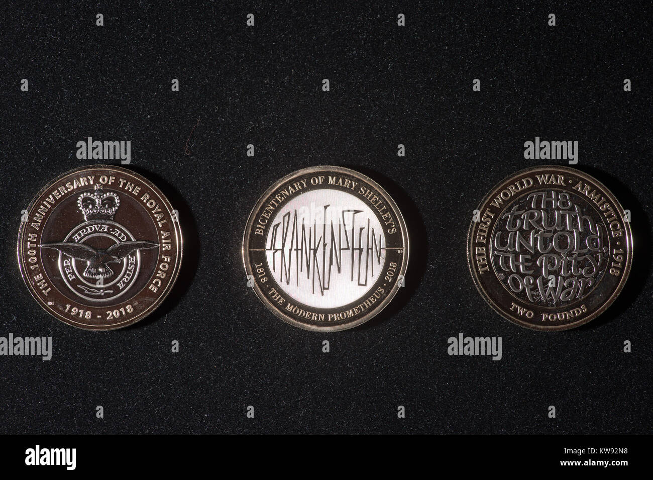 EMBARGOED TO 0001 MONDAY JANUARY 1 Three new circulation £2 coin designs from the Royal Mint featuring - Stock Image