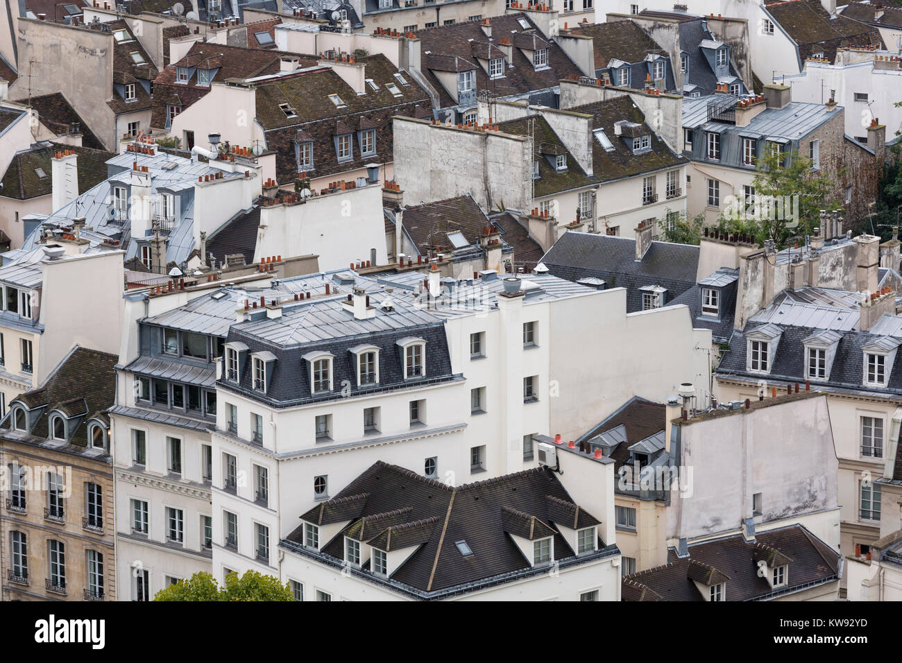 France, Paris (75), roof tops of houses in the 5th arrondissement - Stock Image