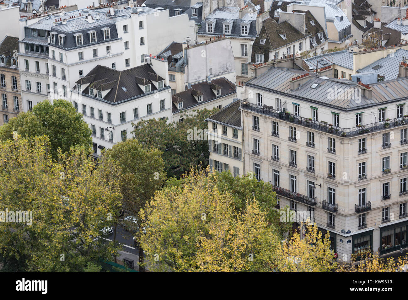 France, Paris, roof tops of houses in the 5th arrondissement - Stock Image
