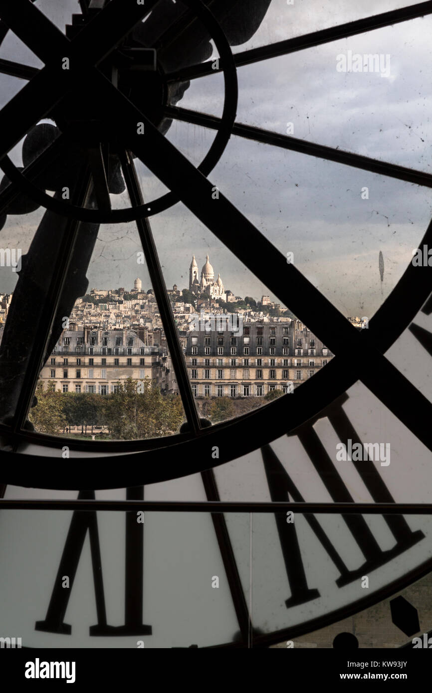 Clock in the Musee d'Orsay, Paris, France - Stock Image