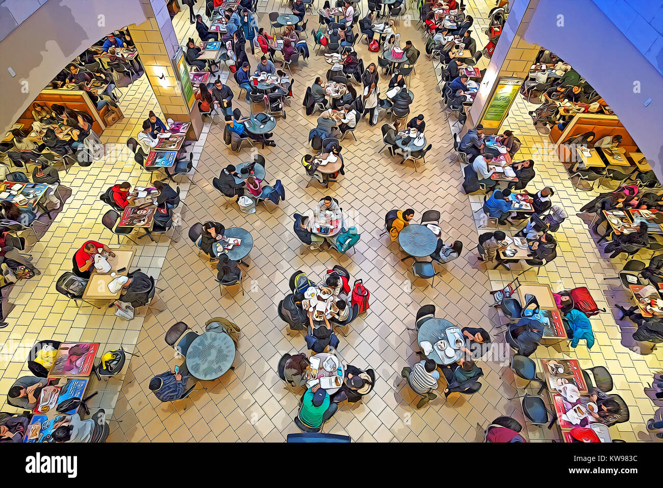 A photoshop manipulated view of the crowded Food Court at the Queens Center shopping mall in Elmhurst, Queens, New - Stock Image