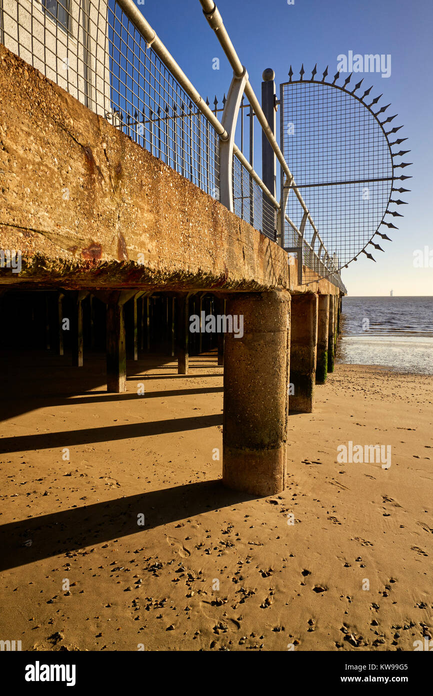 Supports on Clacton pier - Stock Image