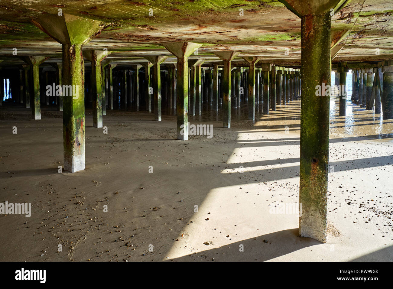 Supports under Clacton pier at low tide - Stock Image