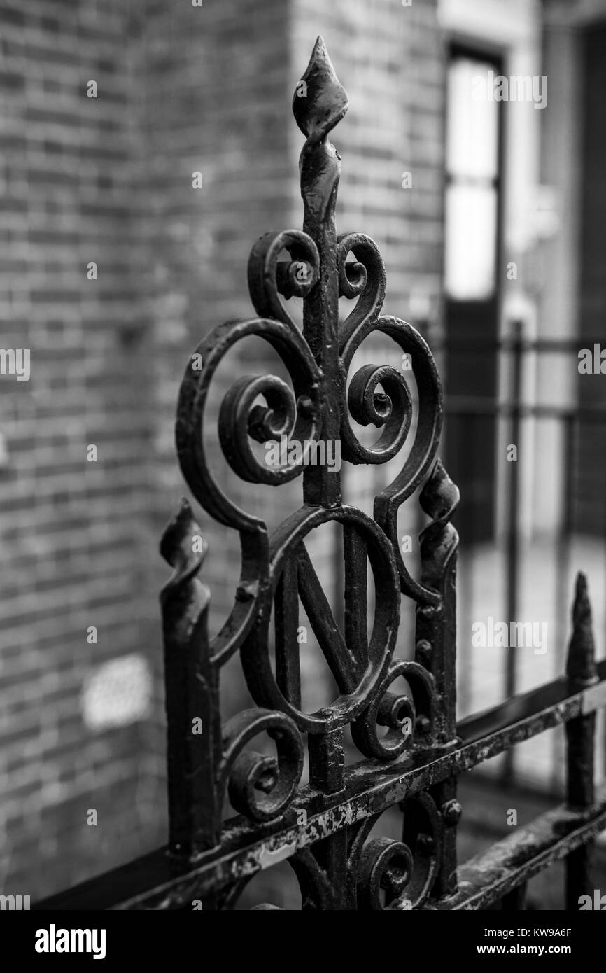 'N' detail on iron fencing outside Walworth Clinic, London, - Stock Image