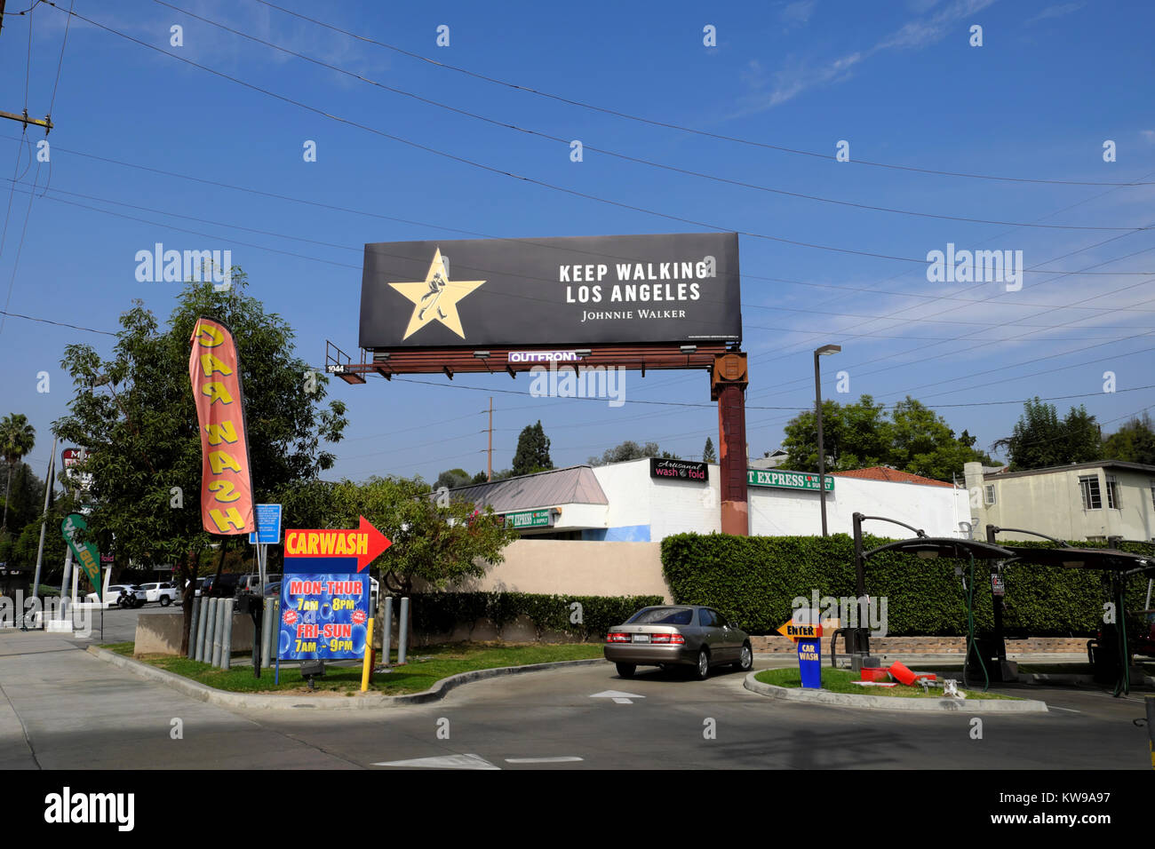 'Keep Walking Los Angeles' Johnnie Walker Scotch Whiskey advert,on a billboard in  Silverlake (Silver Lake) - Stock Image
