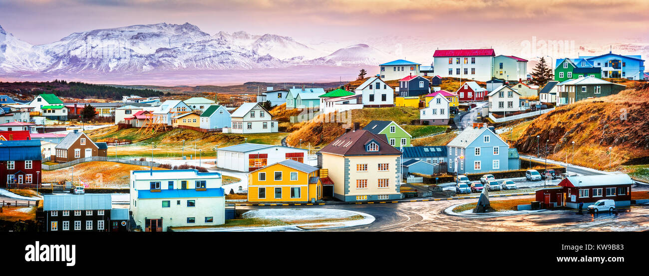 Stykkisholmur colorful icelandic houses. Stykkisholmur is a town situated in the western part of Iceland - Stock Image