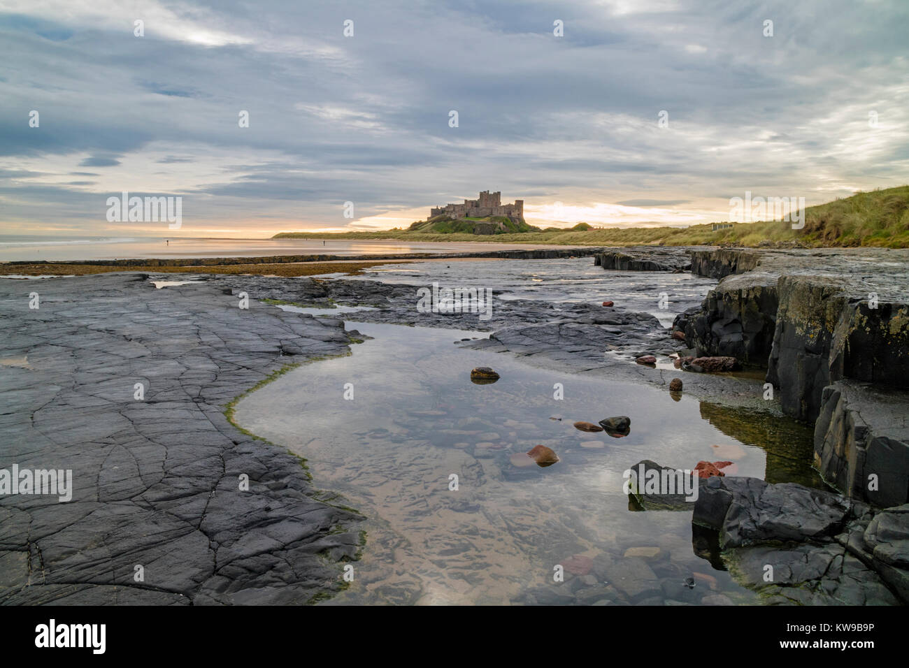Bamburgh Castle on the Northumbrian coast, Northumberland, England, UK - Stock Image