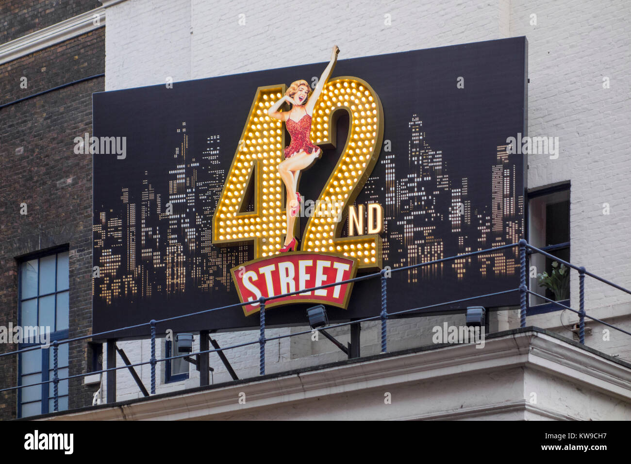 42nd Street musical large illuminated sign outside Theatre Royal, Drury Lane, Covent Garden, London, UK - Stock Image