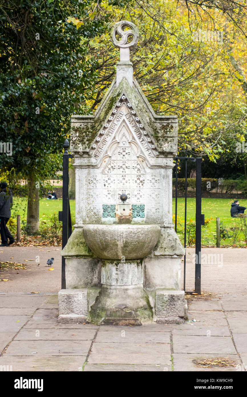 Victorian gothic drinking water fountain 1861, Lincoln's Inn Fields, London, UK - Stock Image