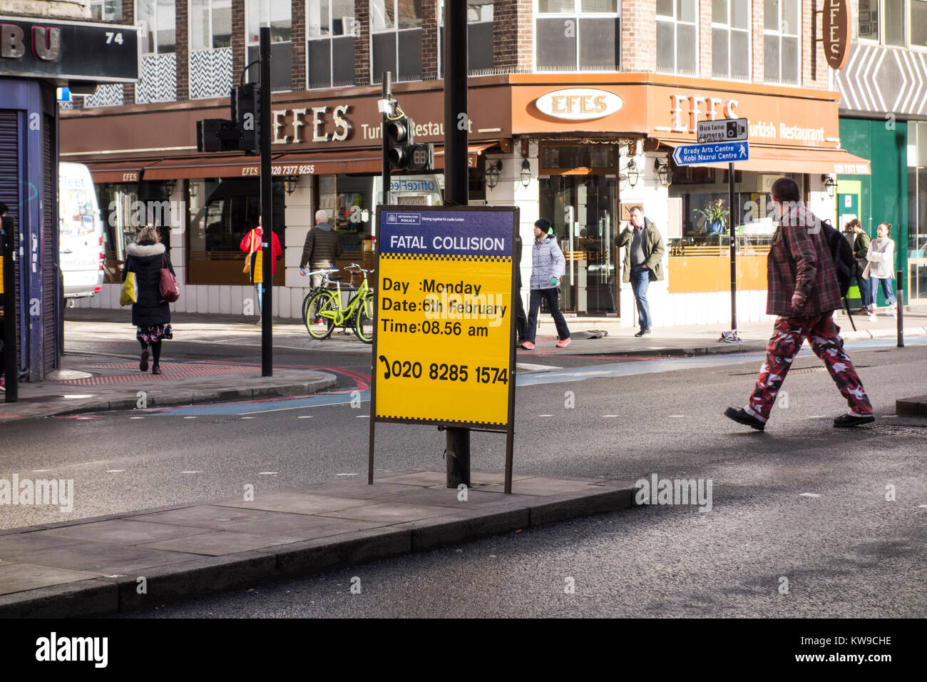 London Metropolitan Police Fatal Collision sign at a junction on the A11 in Whitechapel, east London, UK - Stock Image