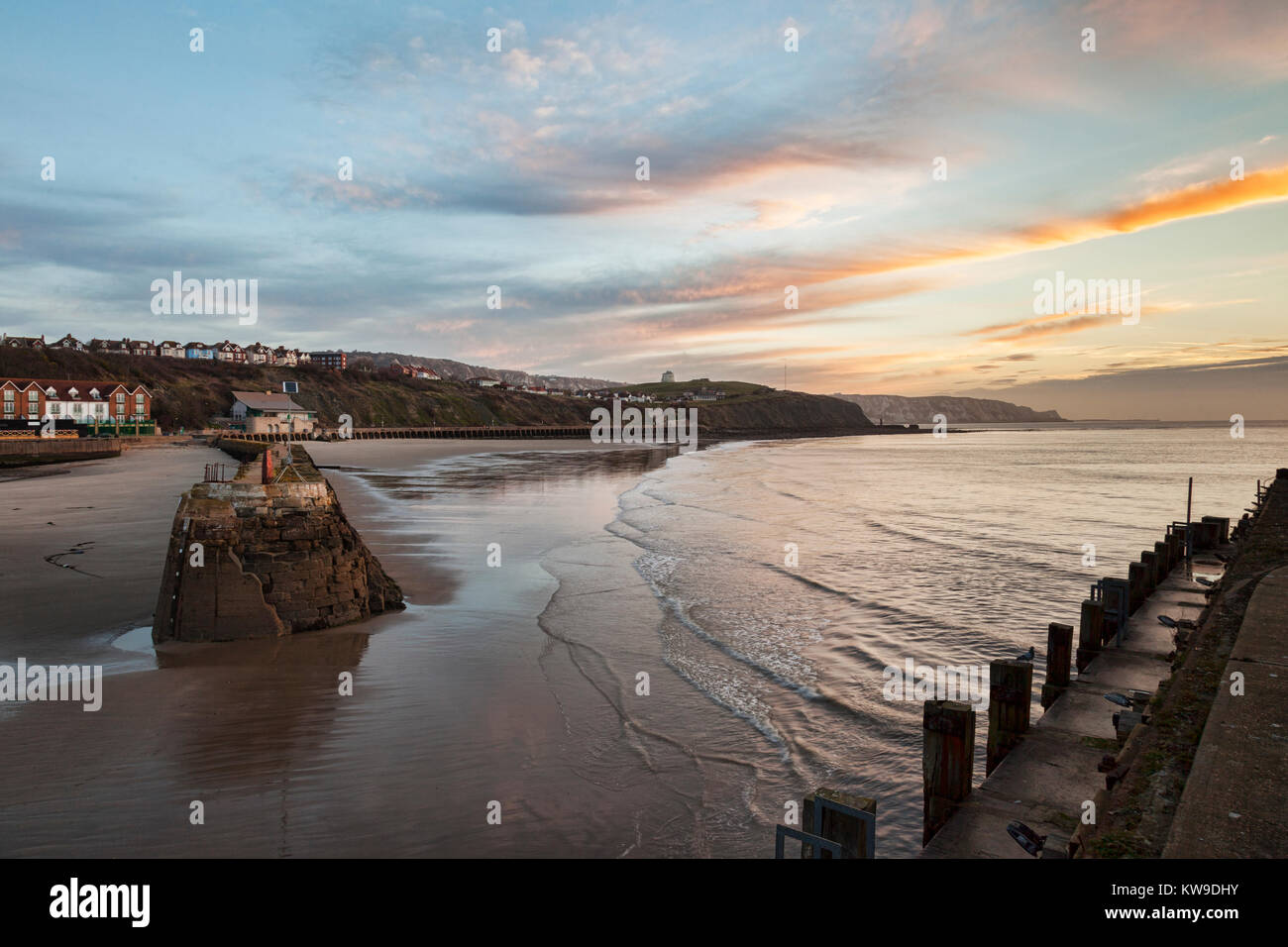 Folkestone Harbour, Kent, England, UK, at sunrise. - Stock Image