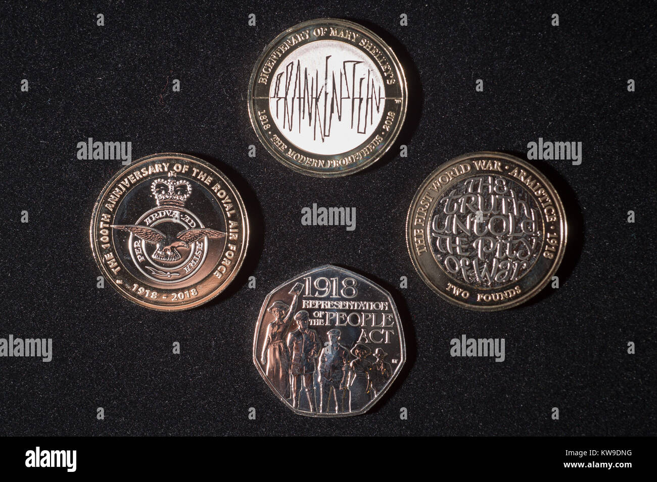 Four new circulation coin designs from the Royal Mint featuring a Frankenstein design on a £2 coin, top, - Stock Image