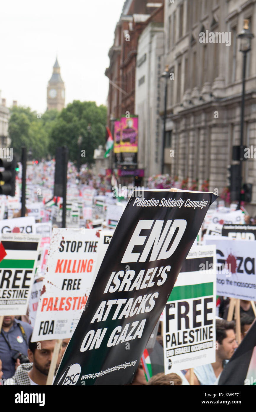 Free Gaza Demonstration in Central London - Stock Image