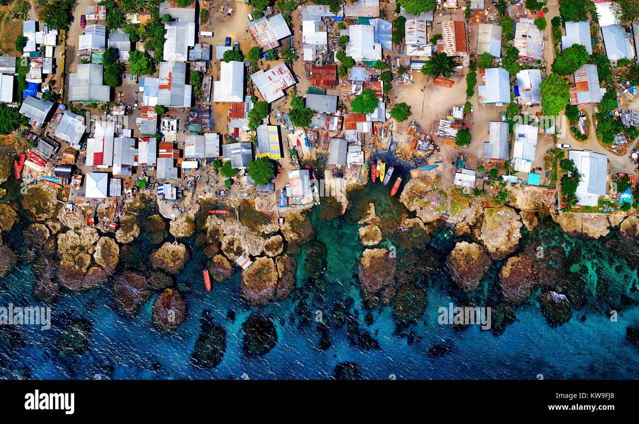 Aerial view of fishing village in Honiara, Solomon Islands - Stock Image