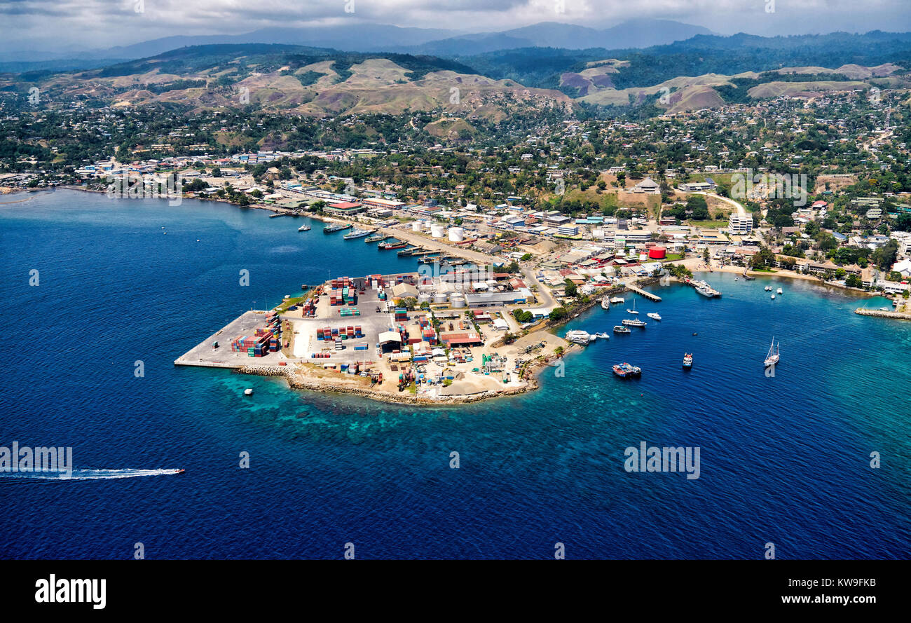 Aerial view of fishing village in Honiara, Solomon Islands - Stock Image