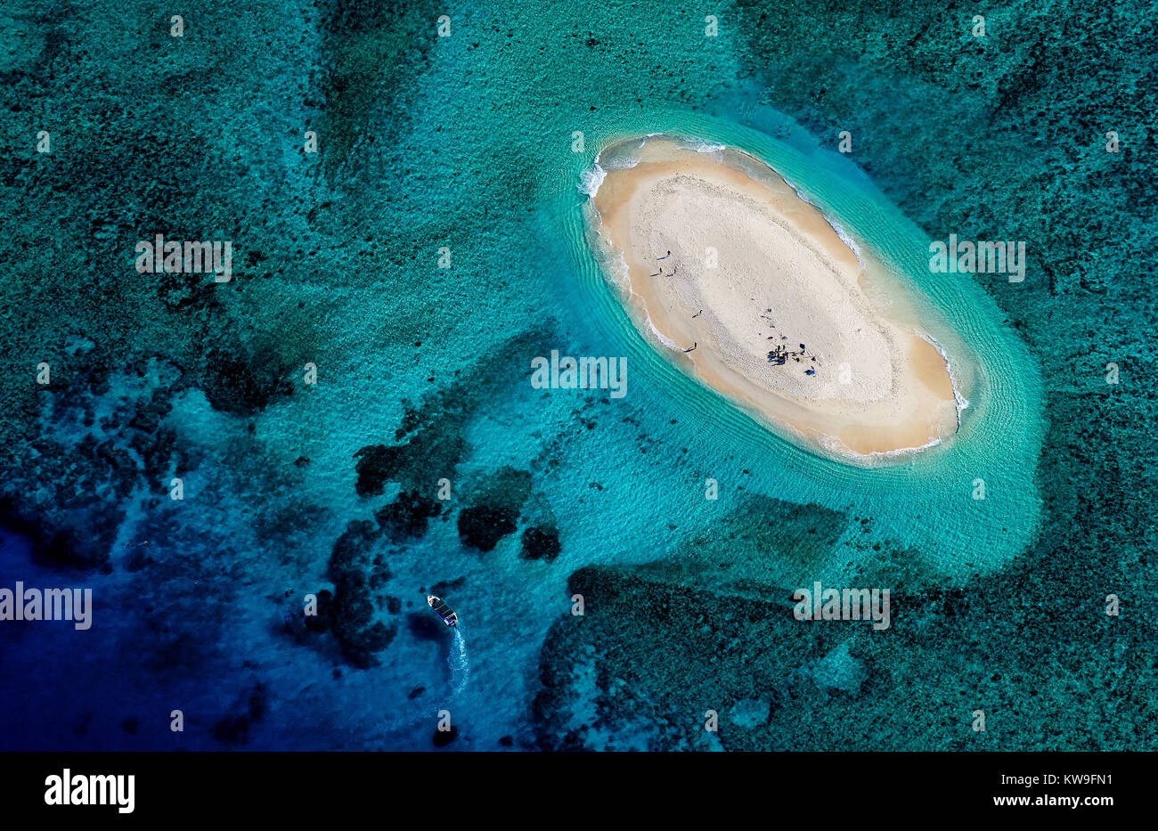 Aerial view of Nukuimana reef in Mamanuca Group Fiji - Stock Image