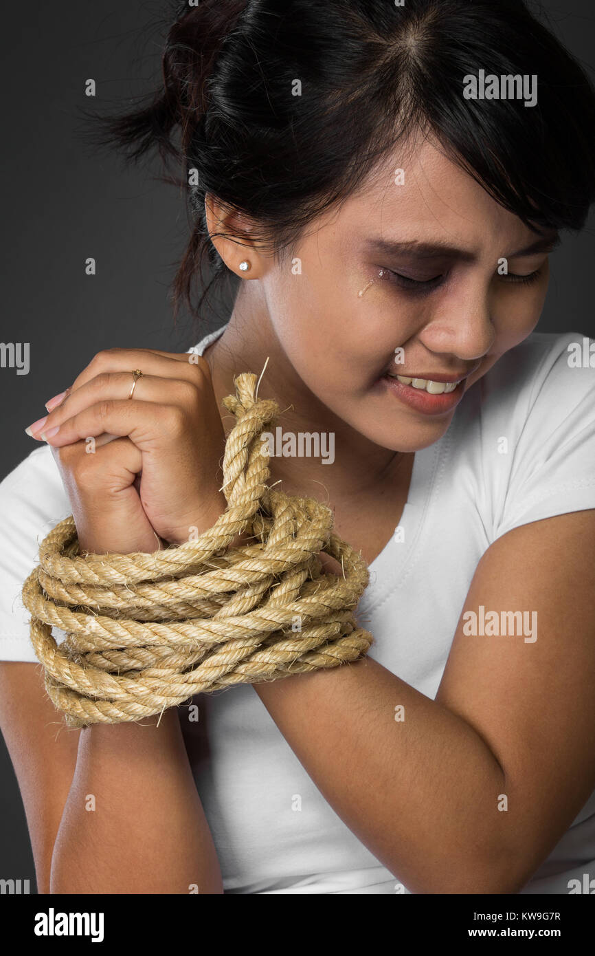 All clear, guy struggling tied up by girl new