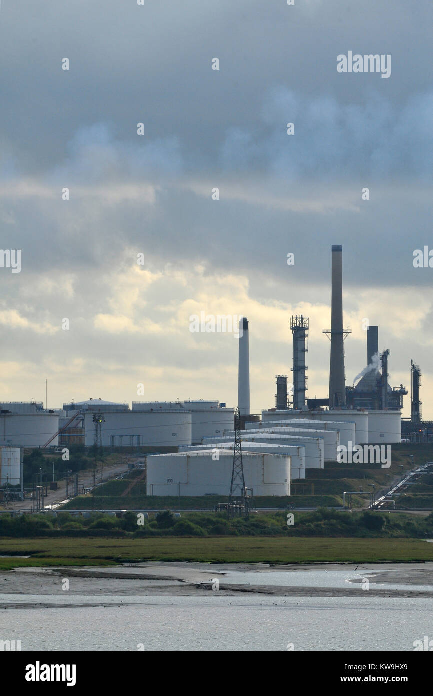 the oil and gas esso or exon mobil oil refinery processing plant at Fawley near Southampton on the edge of the new - Stock Image