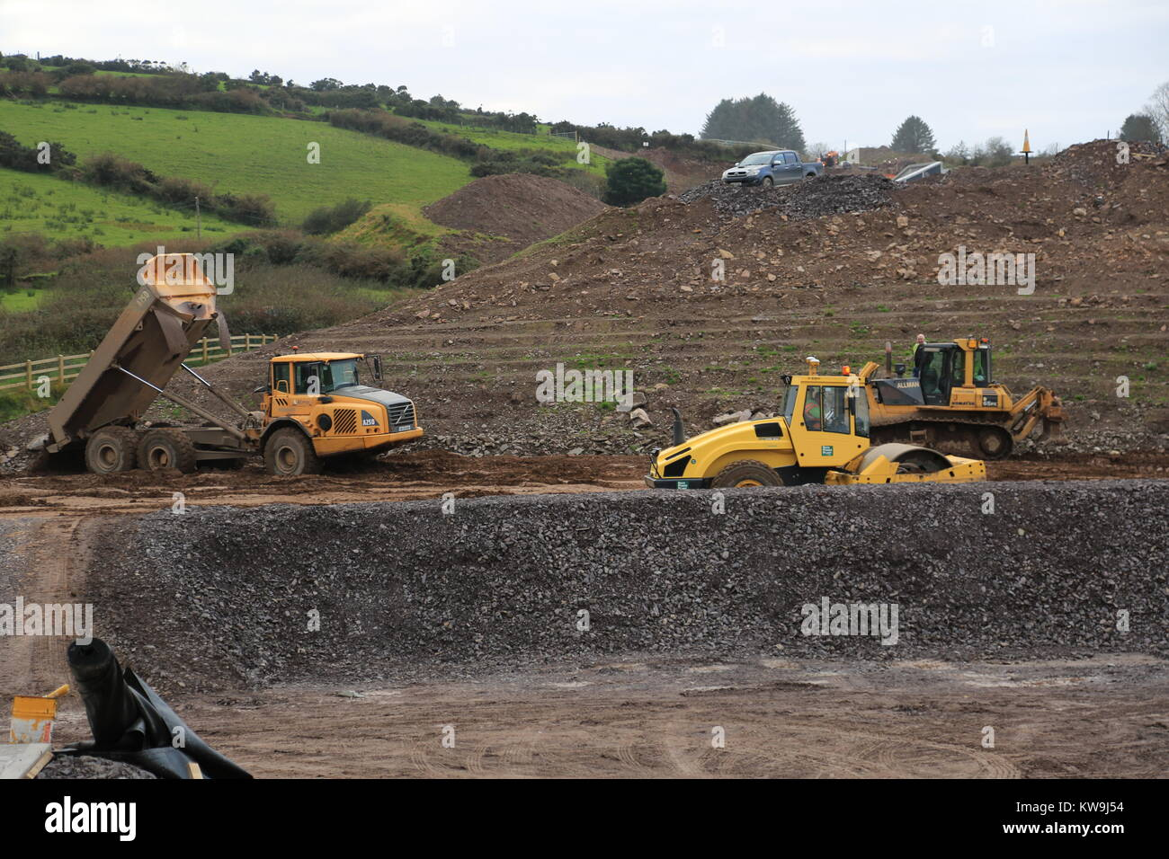 civil engineering road project dingle peninsula, county kerry, ireland - Stock Image