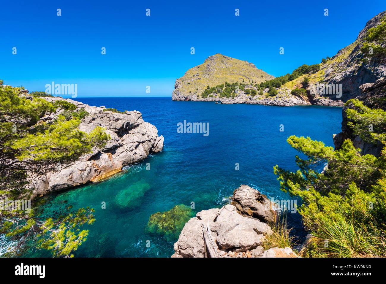 Coastline of Port de Sa Calobra Mallorca Spain - Stock Image