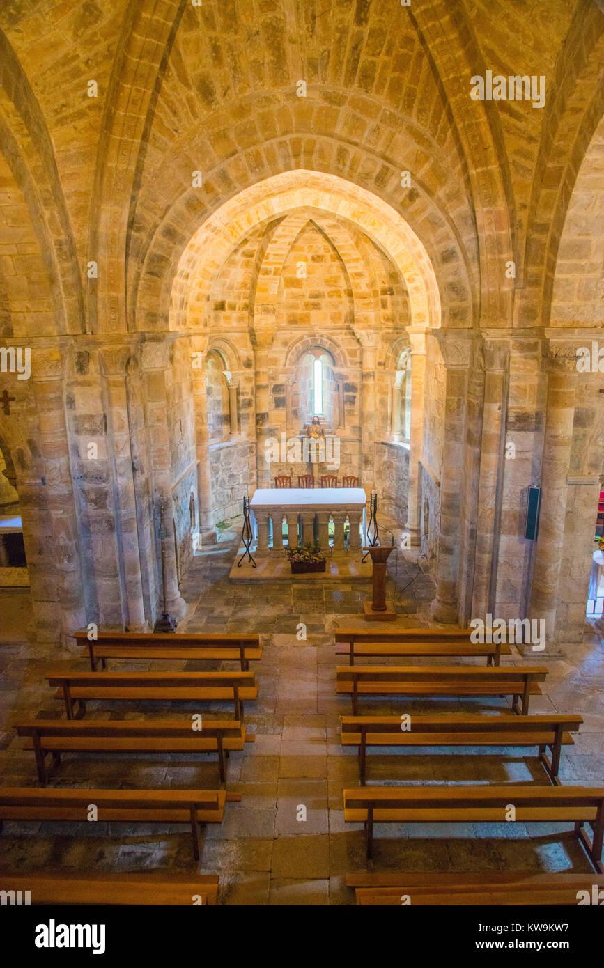 Nave of the Romanesque church. San Salvador de Cantamuda, Palencia province, Castilla Leon, Spain. - Stock Image