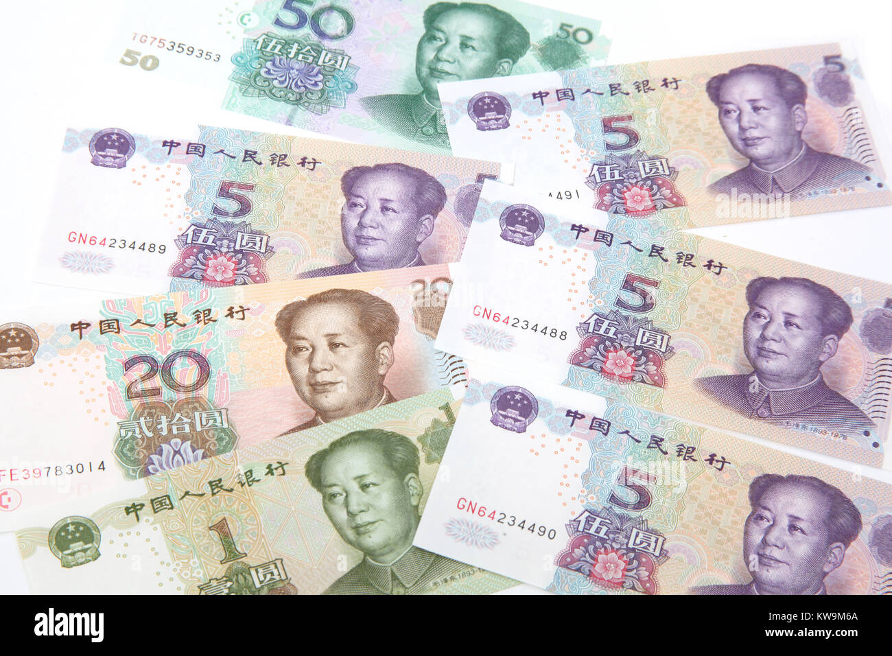 Chinese Bank Notes featuring Mao Zedong - Stock Image