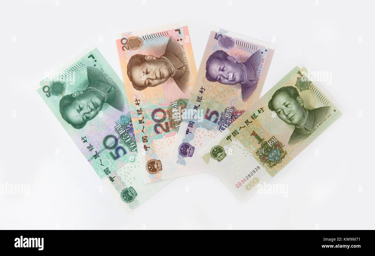 4 Chinese bank notes featuring 50, 20  and 1 Yuan. - Stock Image