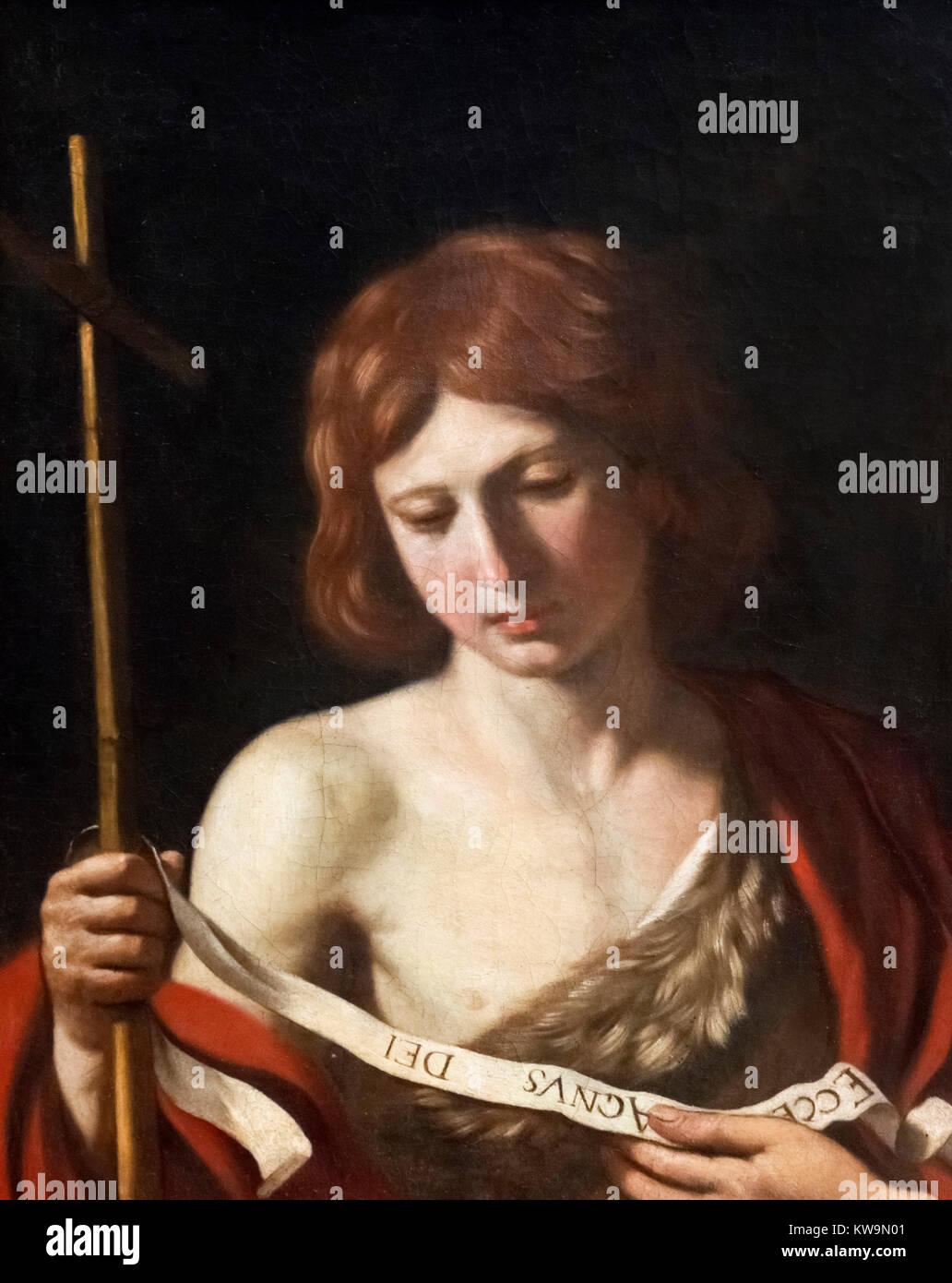 St John the Baptist by Il Guercino (Giovanni Francesco Barbieri, 1591-1666), oil on canvas, 1645 - Stock Image