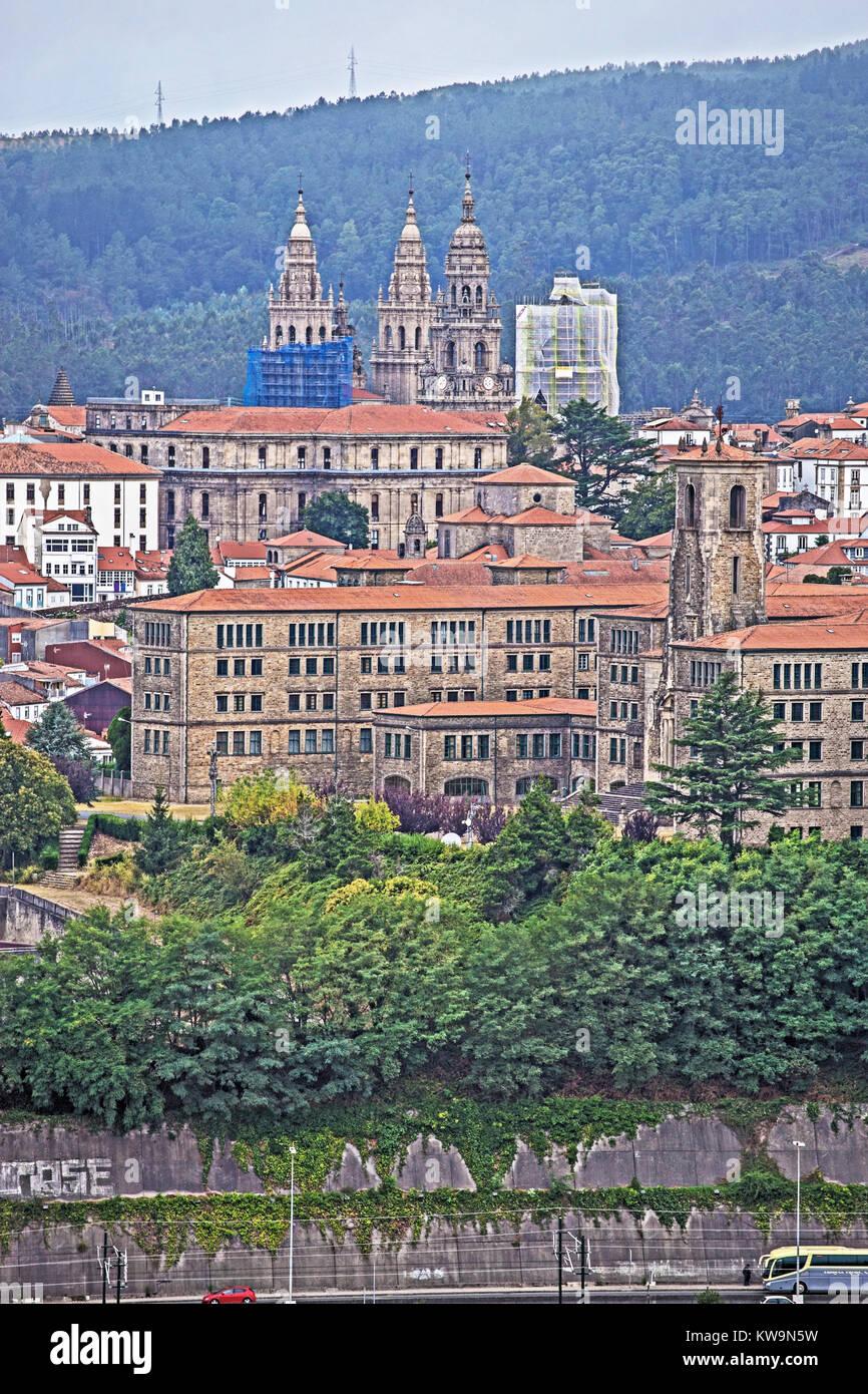 Santiago de Compostela and Cathedral from Cidade da Cultura, Galicia, Spain - Stock Image